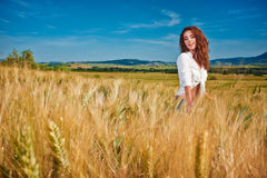 Woman on golden cereal field in summer Stock Photos