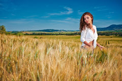 Woman on golden cereal field in summer Royalty Free Stock Images