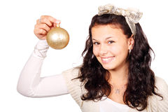 Woman with golden christmas bauble. Young woman with golden christmas bauble isolated on white background Royalty Free Stock Photography