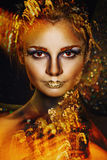 Woman with golden make-up Stock Images