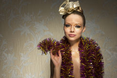 Woman with golden make-up Royalty Free Stock Images
