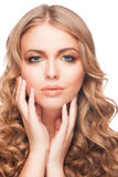 Woman with golden makeup Royalty Free Stock Images
