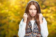 Woman in golden park Stock Photos