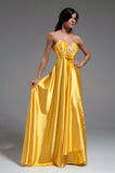 Woman in golden yellow dress Stock Photography