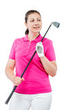woman with a golf club looks aside on a white stock photography