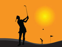 Woman golf player royalty free illustration