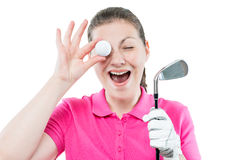 woman golfer funny portrait on a white background Royalty Free Stock Image