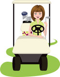 Woman Golfer in Golf Cart Royalty Free Stock Photos