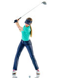 Woman golfer golfing isolated Stock Photos