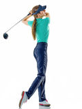 Woman golfer golfing isolated Stock Images