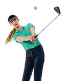 Woman golfer golfing isolated Royalty Free Stock Photography