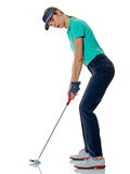 Woman golfer golfing isolated Stock Photography