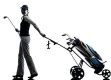 Woman golfer golfing silhouette Stock Photos