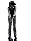 Woman golfer golfing silhouette Royalty Free Stock Photography