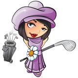 Woman Golfer Illustration. An illustration of a female golfer, holding an iron, isolated on a white background Stock Photography