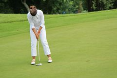 Woman golfer putting on the green. Woman golfer wearing white golf cloths, concentrating to put the ball on the hole on the green Royalty Free Stock Photos