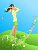 Woman Golfer Swinging Out of Flowered Grass Stock Photos