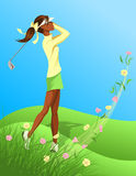 Woman Golfer Swinging Out of Flowered Grass Royalty Free Stock Photo