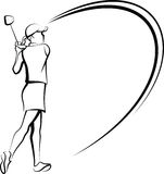 Woman Golfer Teeing Off Stylized Stock Photos