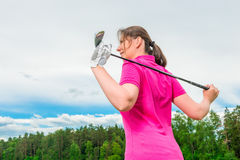 Woman golfer view from the back Stock Photography