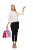 Woman after good christmas shopping isolated Stock Images