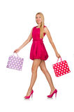 Woman after good christmas shopping isolated Stock Photo