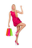 Woman after good christmas shopping isolated Royalty Free Stock Photos
