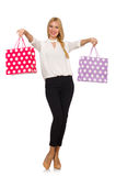 Woman after good christmas shopping isolated Stock Photography