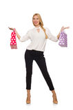 Woman after good christmas shopping isolated Royalty Free Stock Images