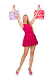 Woman after good christmas shopping isolated Royalty Free Stock Image