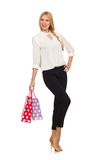 Woman after good christmas shopping Royalty Free Stock Photo