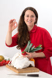 Woman with good food Stock Images
