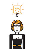Woman with a good idea. Happy woman with a good idea vector illustration