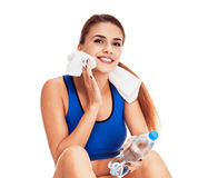 Woman After good workout. sweating Royalty Free Stock Photos