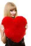 Woman gorgeous girl holding red heart love symbol Royalty Free Stock Photos