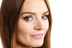 Woman gorgeous girl long hair face makeup royalty free stock images