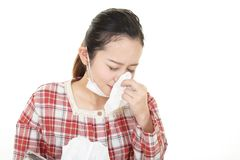 Woman got a cold. Woman in bad condition having flu stock images