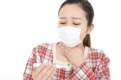 Woman got a cold. Woman in bad condition having flu stock photos