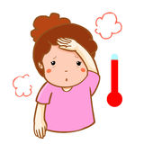 Woman got fever high temperature cartoon  Royalty Free Stock Photos