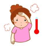 Woman got fever high temperature cartoon  Royalty Free Stock Photos