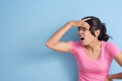 Woman got a headache Stock Photo