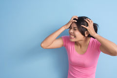 Woman got a headache Royalty Free Stock Photos