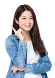 Woman got a new idea and one finger point up Royalty Free Stock Photo