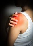 Woman got shoulder blade injure. Woman got shoulder blade pain royalty free stock photo