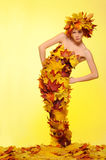 Woman in gown of autumn leaves Royalty Free Stock Photo