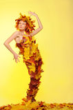 Woman in gown of autumn leaves Stock Photography