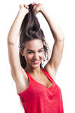 Woman grabbing her hair Royalty Free Stock Photos