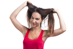 Woman grabbing her hair Stock Photo