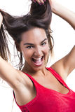 Woman grabbing her hair Stock Photography