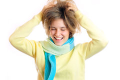 Woman grabbing her head Stock Photos